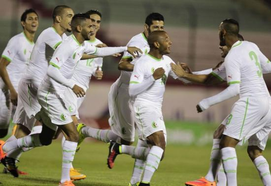 Algeria's Brahimi celebrates  scoring against Malawi during their African Nations Cup qualifying soccer match in Blida