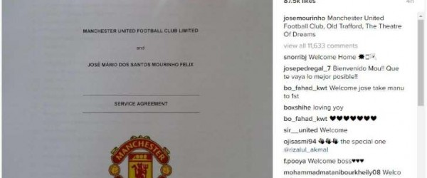 Jose Mourinhos First Ever Instagram Post Is His Man Utd Contract